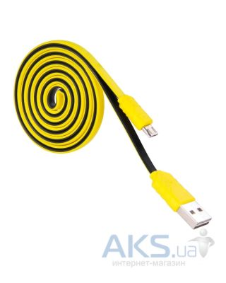 Кабель USB Hoco Two Color Flat Micro USB Yellow