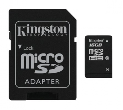 Карта памяти Kingston 16GB MicroSDHC Class 4 + SD Adapter (SDC4/16GB)