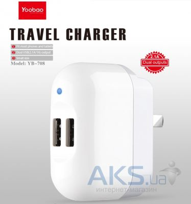 Зарядное устройство Yoobao 2USB Travel Charger (1A/2.1A) US+EU White (YB-708)