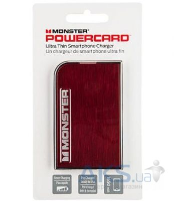 Внешний аккумулятор power bank Monster Mobile® PowerCard™ Portable Battery 1650mAh Cherry Red