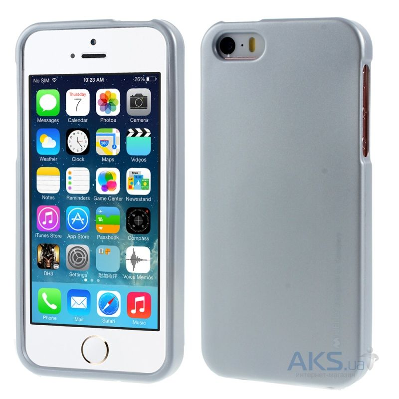 Чехол Mercury TPU Jelly Metal Series Apple iPhone 5, iPhone 5S Silver