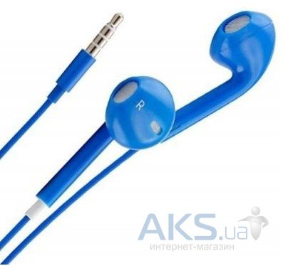 Наушники (гарнитура) Apple EarPods with Remote and Mic (MD827) high copy Blue