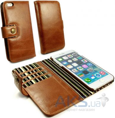 Чехол Alston Craig Vintage Genuine Leather Wallet Case Cover Apple iPhone 6, iPhone 6S Brown (G10_21)