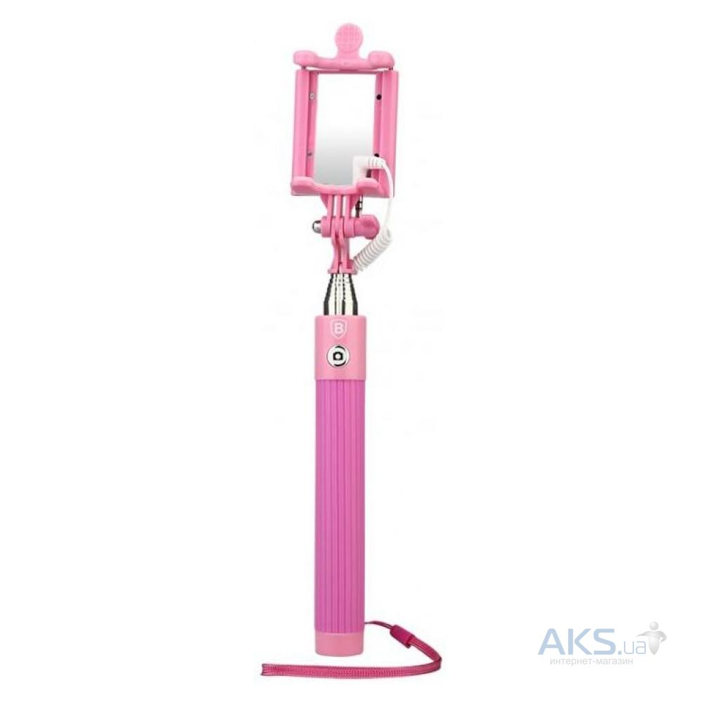 Монопод Baseus Monopod mini-series with AUX-cable Pink