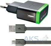 Зарядное устройство E-Power USB Home Dual Charger (2.1A) + microUSB Cable Black (EP702HAS)