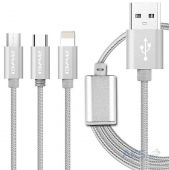 Кабель USB AWEI CL-970 3in1 Lightning/Micro USB/Type-C Silver