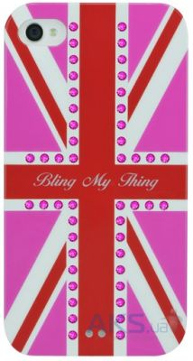 Чехол Bling My Thing Case for iPhone 4/4S - GOD SAVE THE BLING! / Hot Pink Fuchsia (BMTS-11-20-12-03)