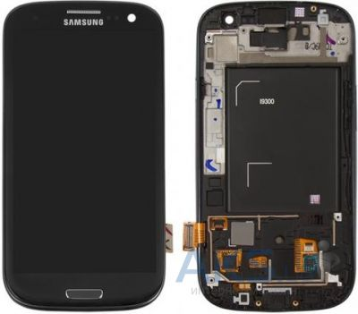 Дисплей (экраны) для телефона Samsung Galaxy S3 I9300 + Touchscreen with frame Original Black
