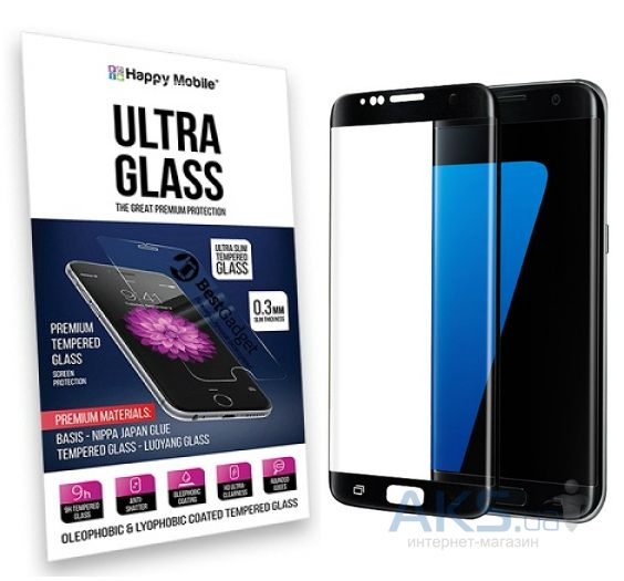 Защитное стекло Hаppy Mobile 3D Curved Ultra Glass Samsung G935 Galaxy S7 Edge Black