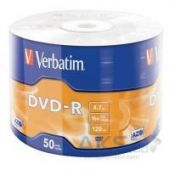 Диск Verbatim DVD-R 4.7Gb 16X Wrap-box 50шт MATT SILVER (43788)
