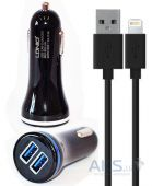 Зарядное устройство LDNio Car charger 2USB (3.1A) + Lightning USB Cable Black (DL-C23)