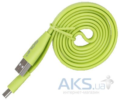 Кабель USB GOLF micro USB Flat Cable Green