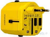 Зарядное устройство Momax 1 World USB Travel Adapter AC port (UK/EU/US/JP/CN/AU) Yellow (UA1Y)