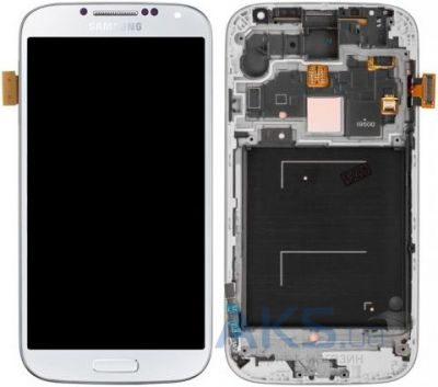 Дисплей (экран) для телефона Samsung Galaxy S4 I9500 + Touchscreen with frame Original White