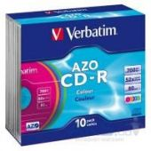 Диск Verbatim CD-R 700Mb 52x SlimCase 10шт AZO Colour (43308)