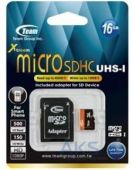 Карта памяти Team 16Gb microSDHC UHS-I + SD Adapter (TUSDH16GUHS03)