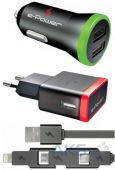 Зарядное устройство E-Power USB Home + Car Charger (2,1A) + miniUSB/microUSB/Lightning cable Black (EP822CHS)