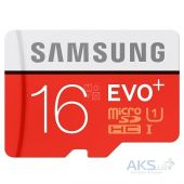 Карта памяти Samsung 16 GB microSDHC Class 10 UHS-I EVO Plus + SD Adapter MB-MC16DA