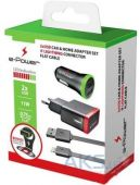 Вид 2 - Зарядное устройство E-Power USB Home + Car Charger (2,1A) + Lightning Cable Black (EP812CHS)