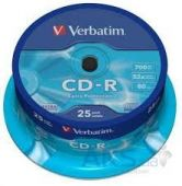 Диск Verbatim CD-R 700Mb 52x Cake box 25 Printable (43439)