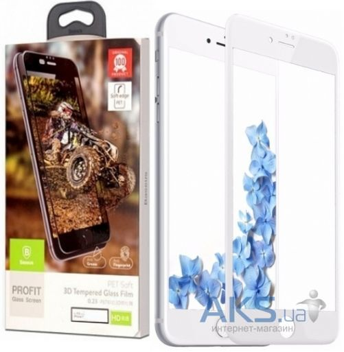 Защитное стекло Baseus 3D Glass 0.23 mm Apple iPhone 7, iPhone 8 White (SGAPIPH7-ASL02)