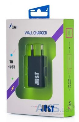 Зарядное устройство JUST Trust USB Wall Charger (1A/5W, 1USB) Black + micro USB cable WCHRGR-TRSTMUSB-BLCK
