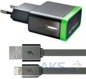 Зарядное устройство E-Power USB Home Dual Charger (2.1A) + Lightning Cable Black (EP712HAS)