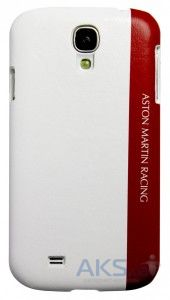 Чехол Aston Martin Racing back case for Samsung S4 with embossed logo White / Red