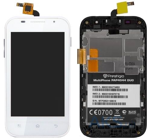 Дисплей (экран) для телефона Prestigio MultiPhone 4044 DUO + Touchscreen with frame Original White