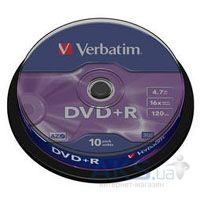 Диск Verbatim DVD+R  4.7Gb 16X CakeBox 10шт Silver (43498)