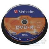 Диск Verbatim DVD-R 4.7Gb 16X CakeBox 25шт (43522)