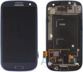 Дисплей (экран) для телефона Samsung Galaxy S3 I9300 + Touchscreen with frame Original Blue