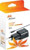 Зарядное устройство Florence USB + cable micro USB 1A Black (TC21-MU)
