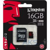 Вид 2 - Карта памяти Kingston 16GB microSDHC Class 10 UHS-I U3 R90/W80MB/s + SD Adapter (SDCA3/16GB)
