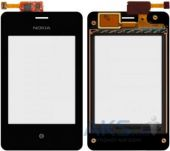 Сенсор (тачскрін) Nokia Asha 502 Dual Sim with frame Original Black