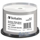 Диск Verbatim CD-R 700Mb 52x Cake box Printable Silver 50шт (43653)