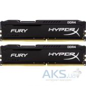 Оперативная память Kingston DDR4 8GB (2x4GB) 2400 MHz Fury Black (HX424C15FBK2/8)
