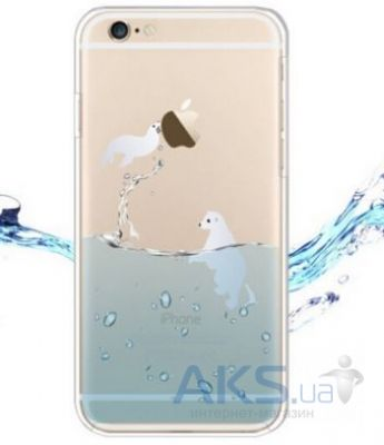Чехол Original TPU Ocean Series Apple iPhone 6, 6S Transparent Медведь и котик