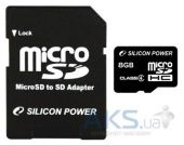 Карта памяти Silicon Power 8Gb microSDHC class 4 + adapter (SP008GBSTH004V10-SP)