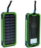 Внешний аккумулятор power bank MANGO Solar LED 2USB 15000 mAh Black-green