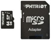 Карта памяти Patriot Memory card Secure Digital Micro 64Gb, SDHC LX Series UHS-I (class 10) + Adapter (PSF64GMCSDXC100)