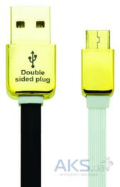 Кабель USB Gelius Double Side Micro USB Black / White