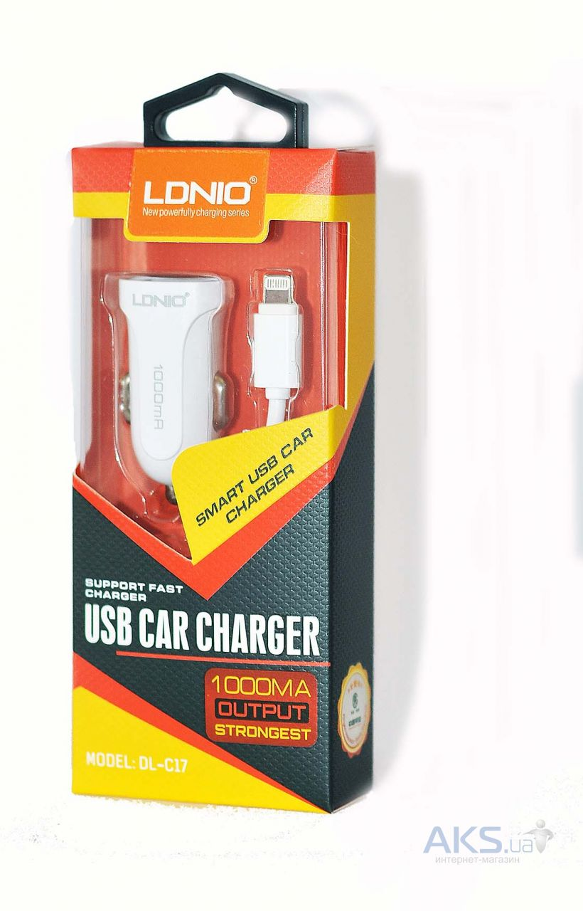 Зарядное устройство LDNio USB Car charger 1A + USB Lightning Cable White (DL-C17)