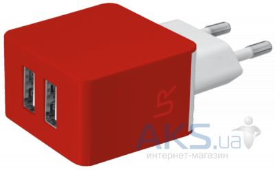 Зарядное устройство Urban Revolt DUAL SMART WALL CHARGER (1A/1A) Red