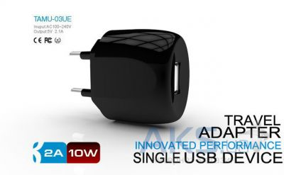 Зарядное устройство Parmp Usb Home Charger+ Lightning Cable для iPhone 5 Black