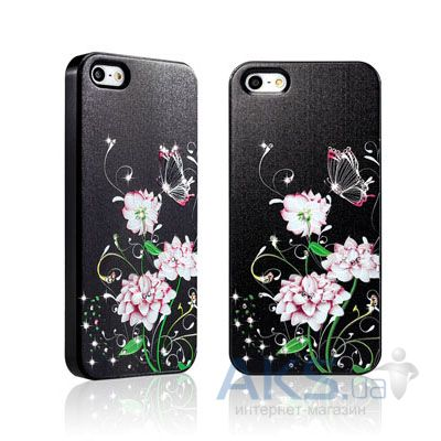 Чехол Star5 Graceful Luxury Butterfly & Flower Apple iPhone 5, iPhone 5S, iPhone 5SE Black (with Swarovski)