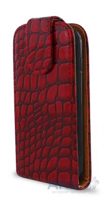 Чехол Flip Cover for Samsung S5690 Red Croco