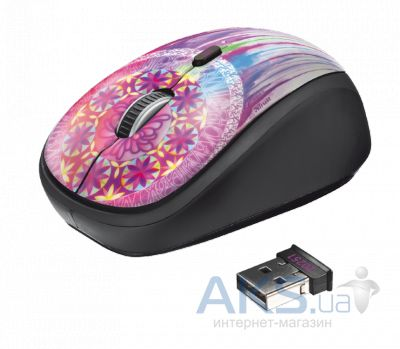 Компьютерная мышка Trust Yvi Wireless Mouse dream catcher Pink