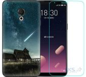 Чохол 1TOUCH Print Case Meizu 15 Lite Dark Blue + Tempered Glass