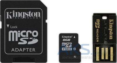 Карта памяти Kingston 8Gb microSDHC class 10 Gen 2 + SD-adapter + USB-reader (MBLY10G2/ 8GB)